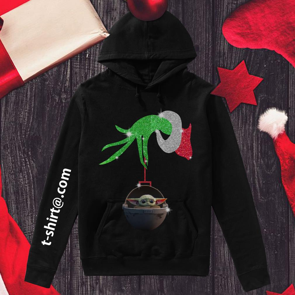 Grinch hand holding Baby Yoda Hoodie