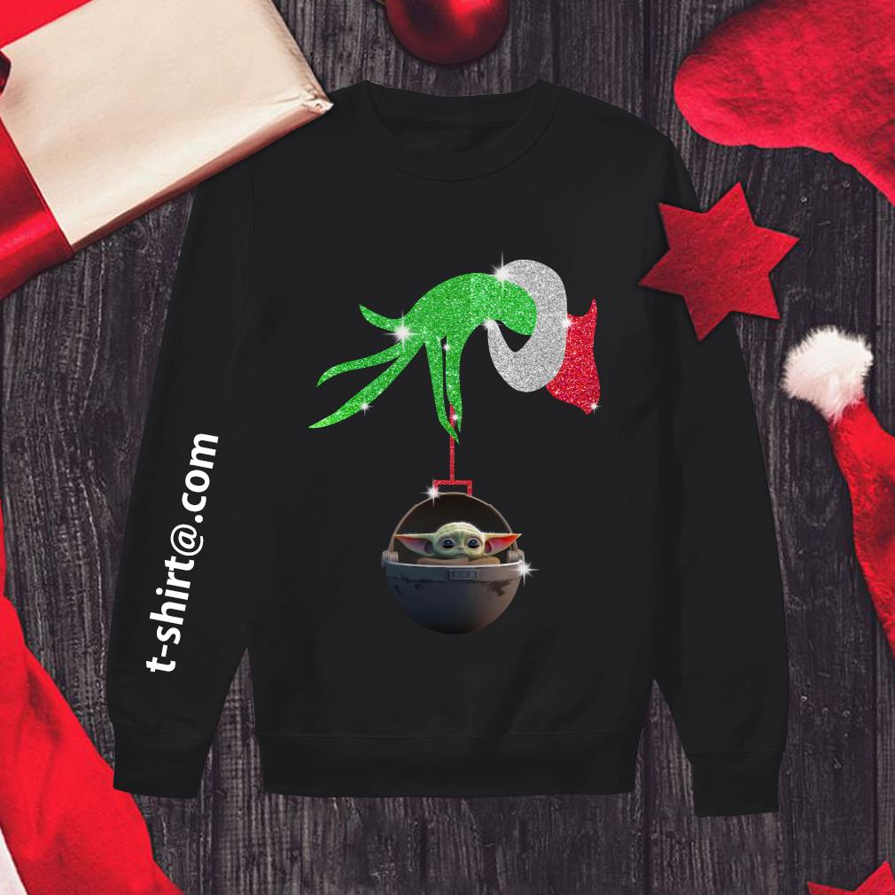 Grinch hand holding Baby Yoda Sweater