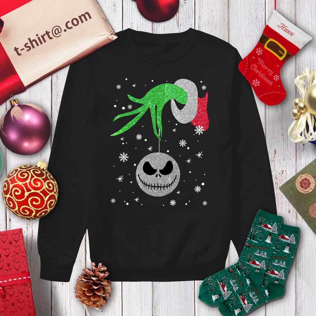 Grinch hand holding Jack Skellington Christmas shirt sweater