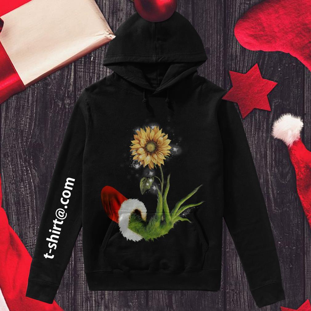Grinch Santa hand holding sunflower Hoodie