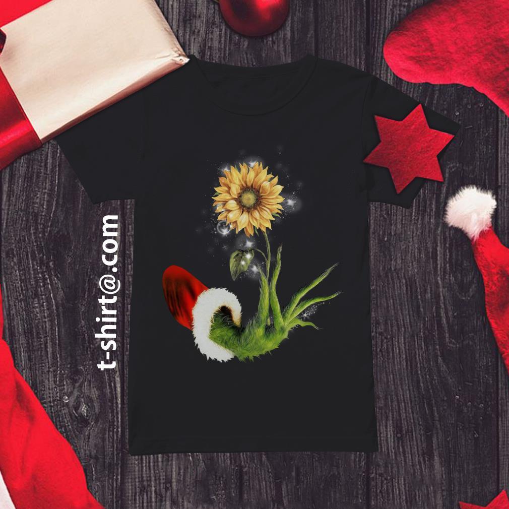 Grinch Santa hand holding sunflower Ladies Tee