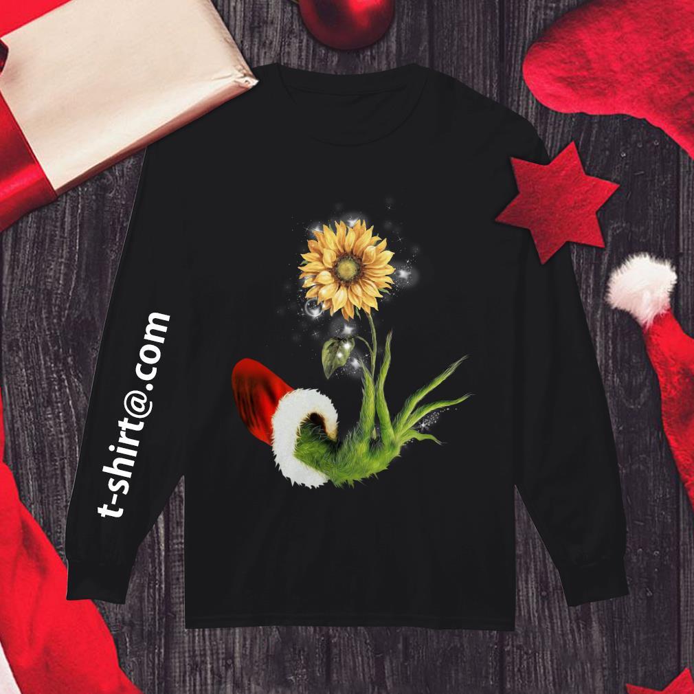 Grinch Santa hand holding sunflower Longsleeve tee
