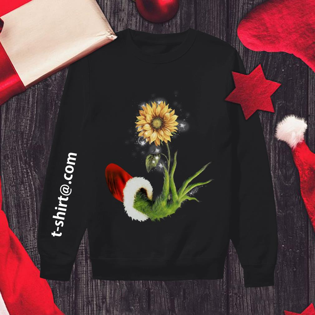 Grinch Santa hand holding sunflower Sweater