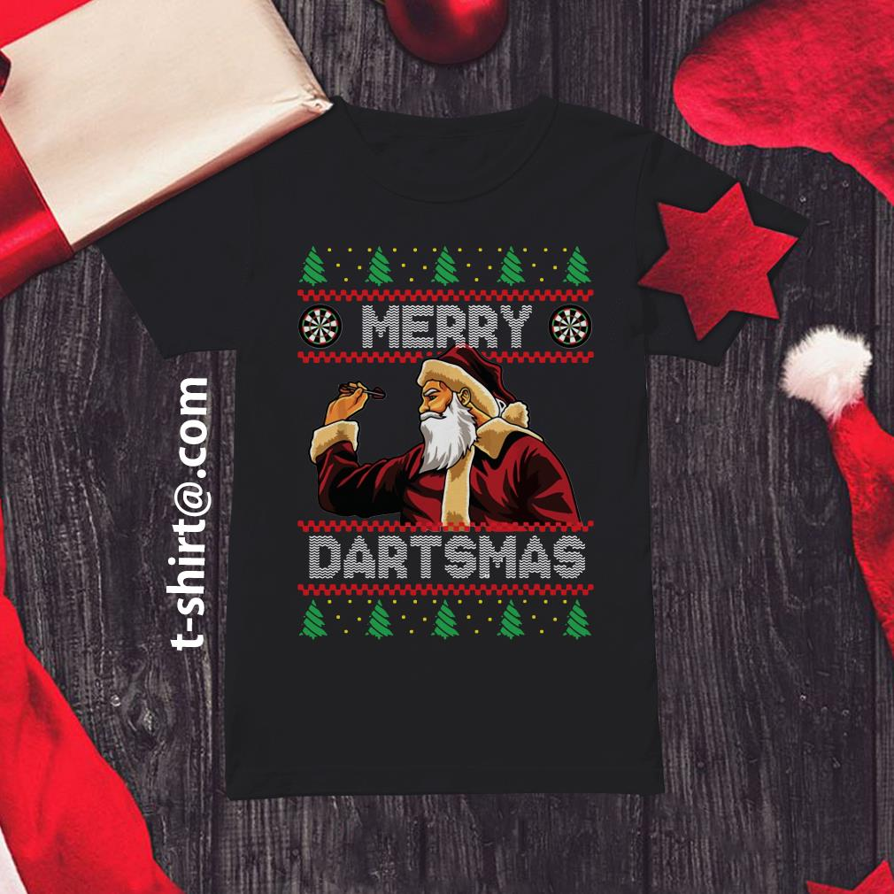 Santa Claus Merry Dartsmas ugly Christmas Ladies Tee