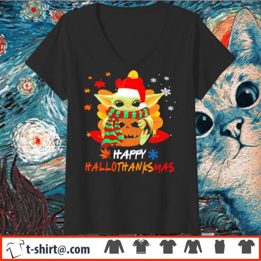 Baby Yoda Happy HalloThanksMas s v-neck-t-shirt