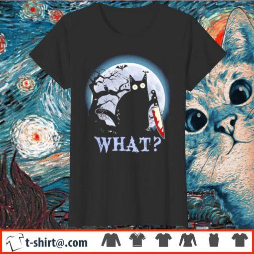 Black cat what murderous Halloween s ladies-tee