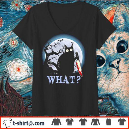 Black cat what murderous Halloween s v-neck-t-shirt