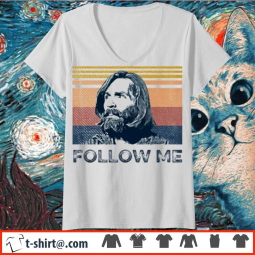 Charles Manson follow me vintage s v-neck-t-shirt