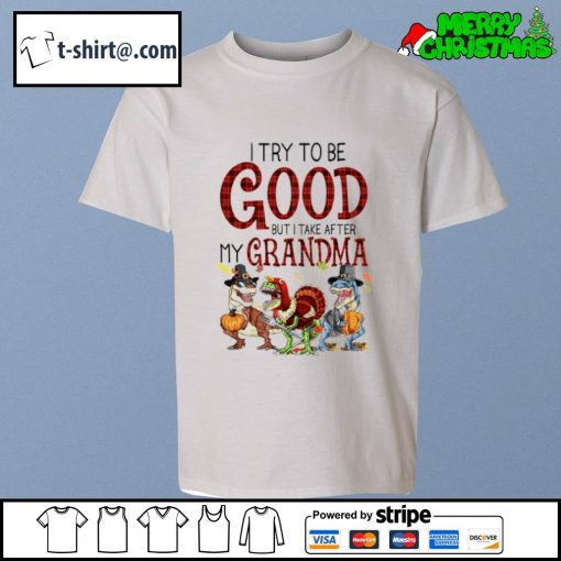 Dinosaur T-rex I try to be good but I take after my grandma s youth-tee