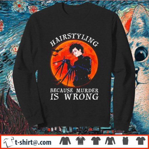 Edward Scissorhands hairstyling because murder is wrong s sweater