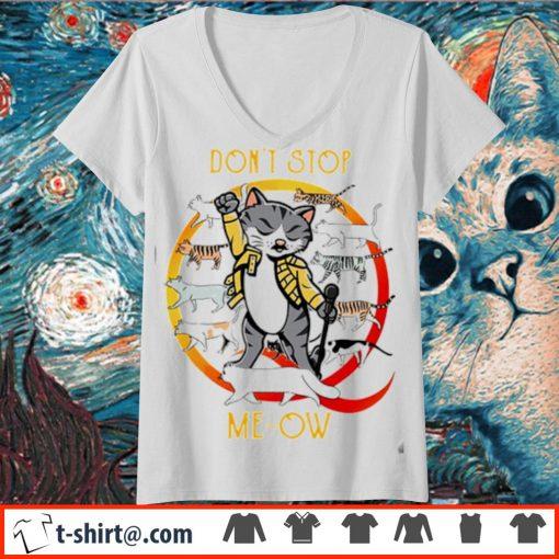 Freddie Mercury cat don't stop meow s v-neck-t-shirt