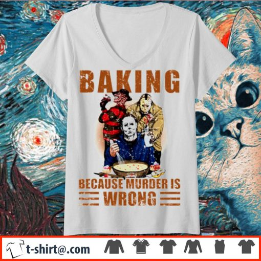 Horror characters baking because murder is wrong s v-neck-t-shirt