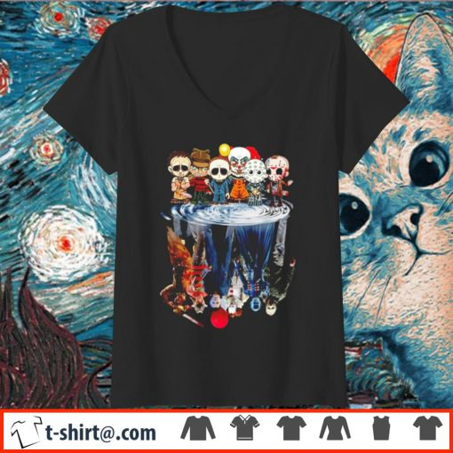 Horror characters water reflection mirror Chibi s v-neck-t-shirt