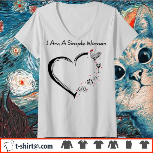 I am a simple woman chicken wine paw dog and flip-flop s v-neck-t-shirt