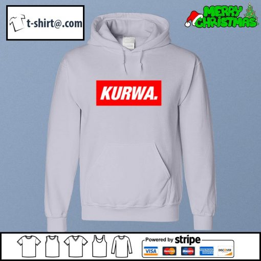 Kurwa in red text typography word s hoodie