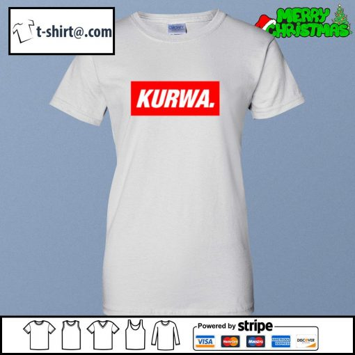 Kurwa in red text typography word s ladies-tee