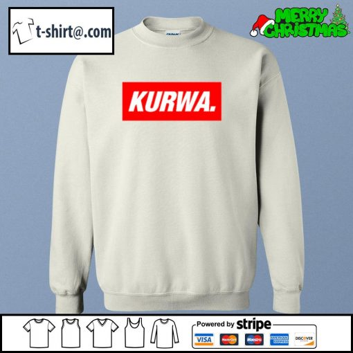 Kurwa in red text typography word s sweater