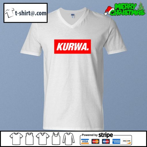 Kurwa in red text typography word s v-neck-t-shirt