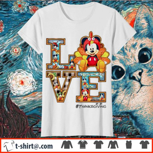 Mickey mouse Love thanksgiving s ladies-tee