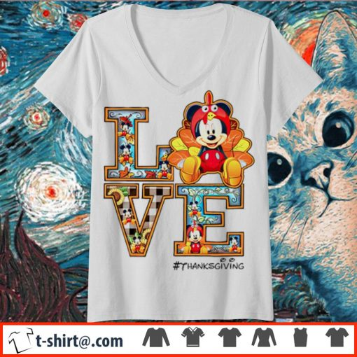 Mickey mouse Love thanksgiving s v-neck-t-shirt