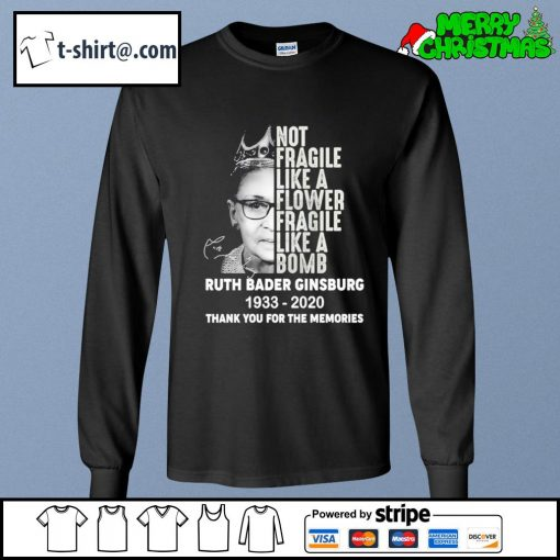 Not fragile like a flower fragile like a bomb Ruth Bader Ginsburg 1933 2020 thank you for the memories s longsleeve-tee