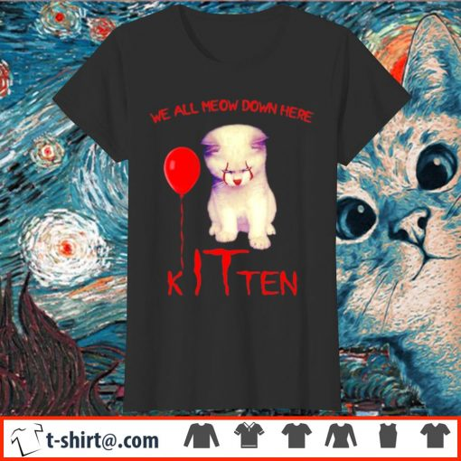 Pennywise cat we all meow down here kITten s ladies-tee