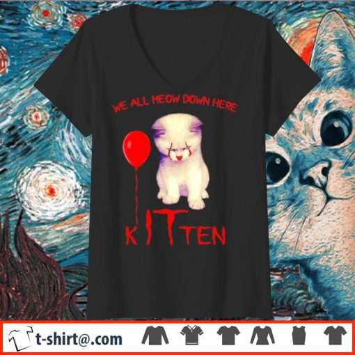 Pennywise cat we all meow down here kITten s v-neck-t-shirt
