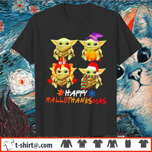 Pumpkin Santa Witch Baby Yoda Happy Hallothanksmas shirt