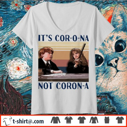 Ron and Hermione It's cor-o-na not Coron-a vintage s v-neck-t-shirt