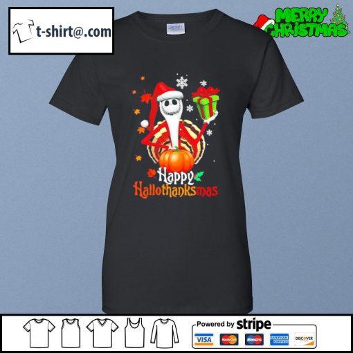 Santa Jack Skellington Happy Hallothanksmas s ladies-tee