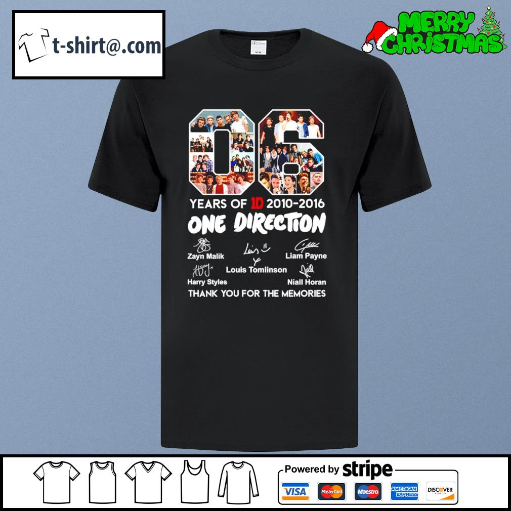 06 years of 1D 2010-2016 One Direction thank you for the memories shirt