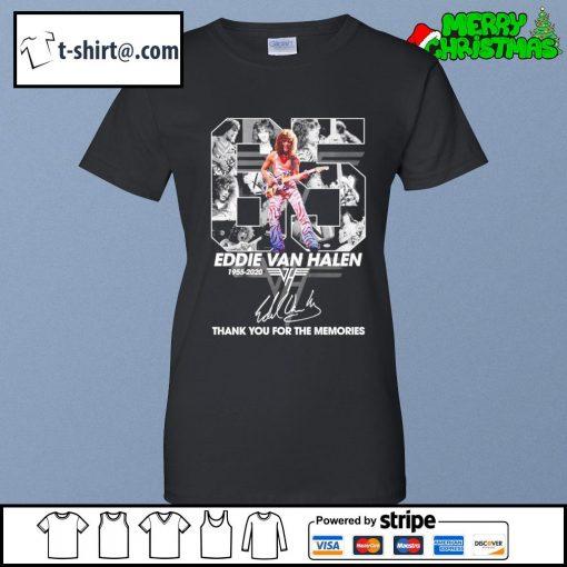 65 Eddie Van Halen 1955-2020 thank you for the memories signature s ladies-tee