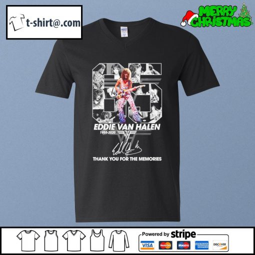 65 Eddie Van Halen 1955-2020 thank you for the memories signature s v-neck-t-shirt