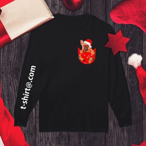 French Bulldog in pocket Christmas shirt, sweater longsleeve-tee
