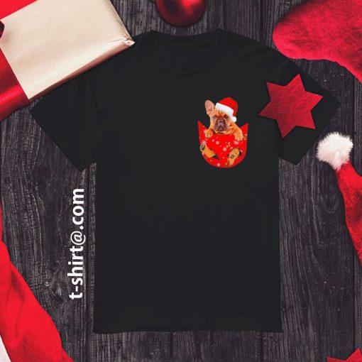 French Bulldog in pocket Christmas shirt, sweater