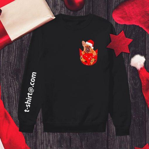 French Bulldog in pocket Christmas shirt, sweater sweater