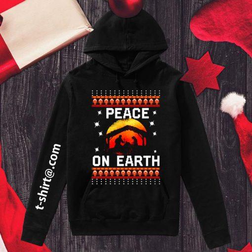 Nativity Jesus Peace on earth ugly Christmas shirt, sweater hoodie