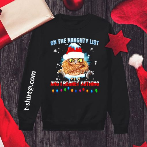 Owl on the naughty list and I regret nothing Christmas s sweater