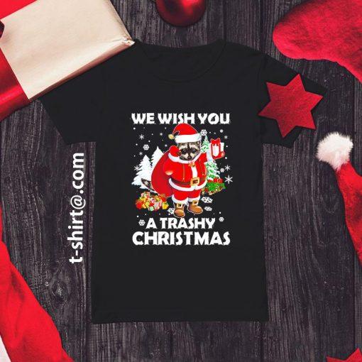 Raccoon we wish you a trashy Christmas shirt, sweater ladies-tee