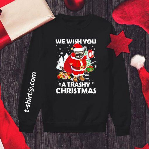 Raccoon we wish you a trashy Christmas shirt, sweater sweater