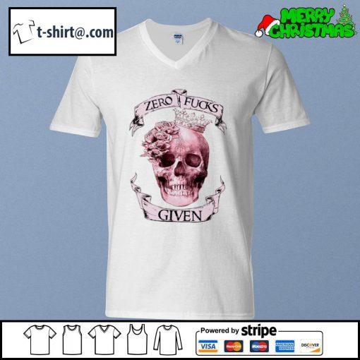 Skull zero fucks given s v-neck-t-shirt
