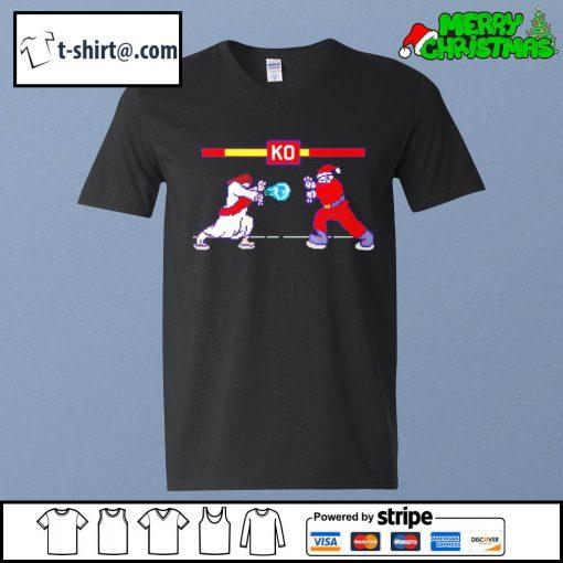 Street Fight Jesus vs Santa s v-neck-t-shirt