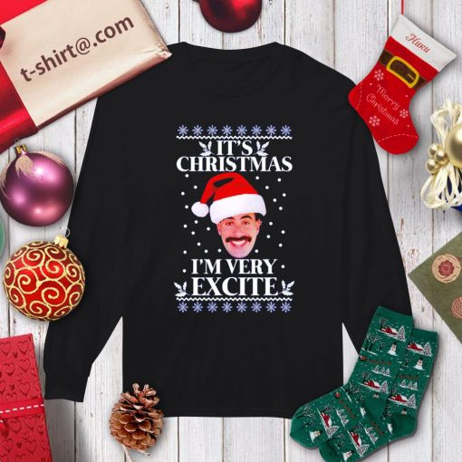 Borat it's Christmas I'm very excite ugly Christmas shirt, sweater longsleeve-tee