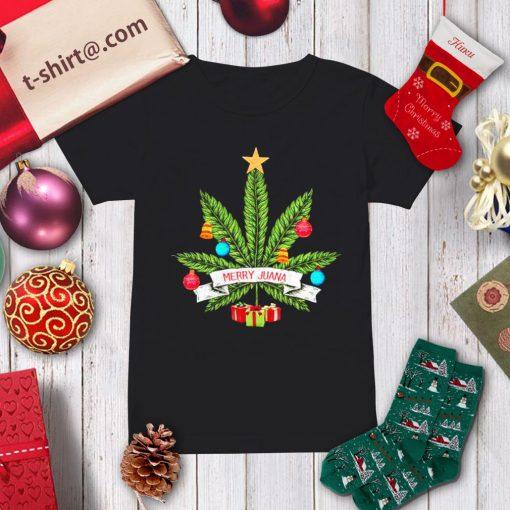 Cannabis weed Merry Juana Christmas shirt, sweater ladies-tee