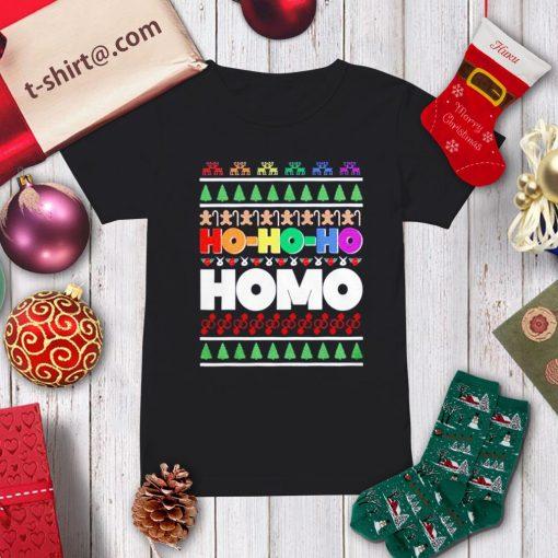 Ho Ho Ho Homo LGBT Gay Pride rainbow Xmas ugly Christmas shirt, sweater ladies-tee