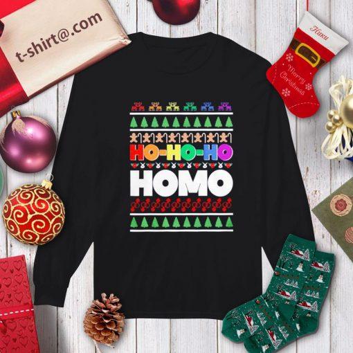 Ho Ho Ho Homo LGBT Gay Pride rainbow Xmas ugly Christmas shirt, sweater longsleeve-tee