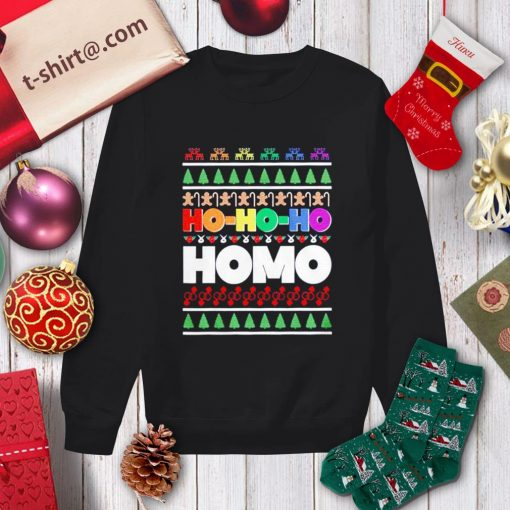 Ho Ho Ho Homo LGBT Gay Pride rainbow Xmas ugly Christmas shirt, sweater sweater