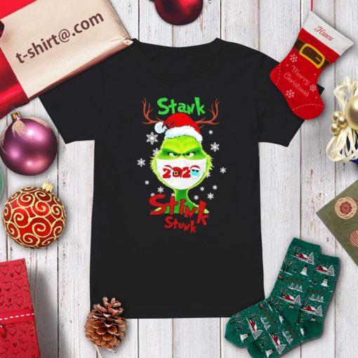 Merry Christmas Grinch wearing mask stank stink stunk 2020 shirt, sweater ladies-tee