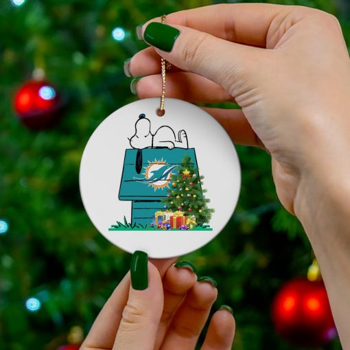 Miami Dolphins Snoopy NFL Ornament, t-shirt and hoodie