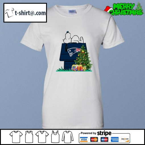New England Patriots Snoopy NFL Ornament, t-shirt and hoodie ladies-tee